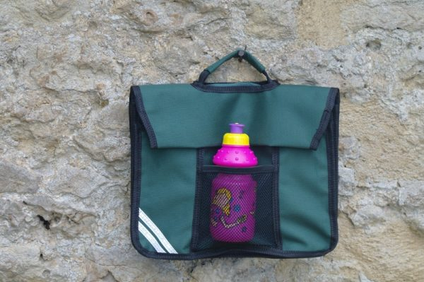 OTT Book Bag front with bottle in pocket